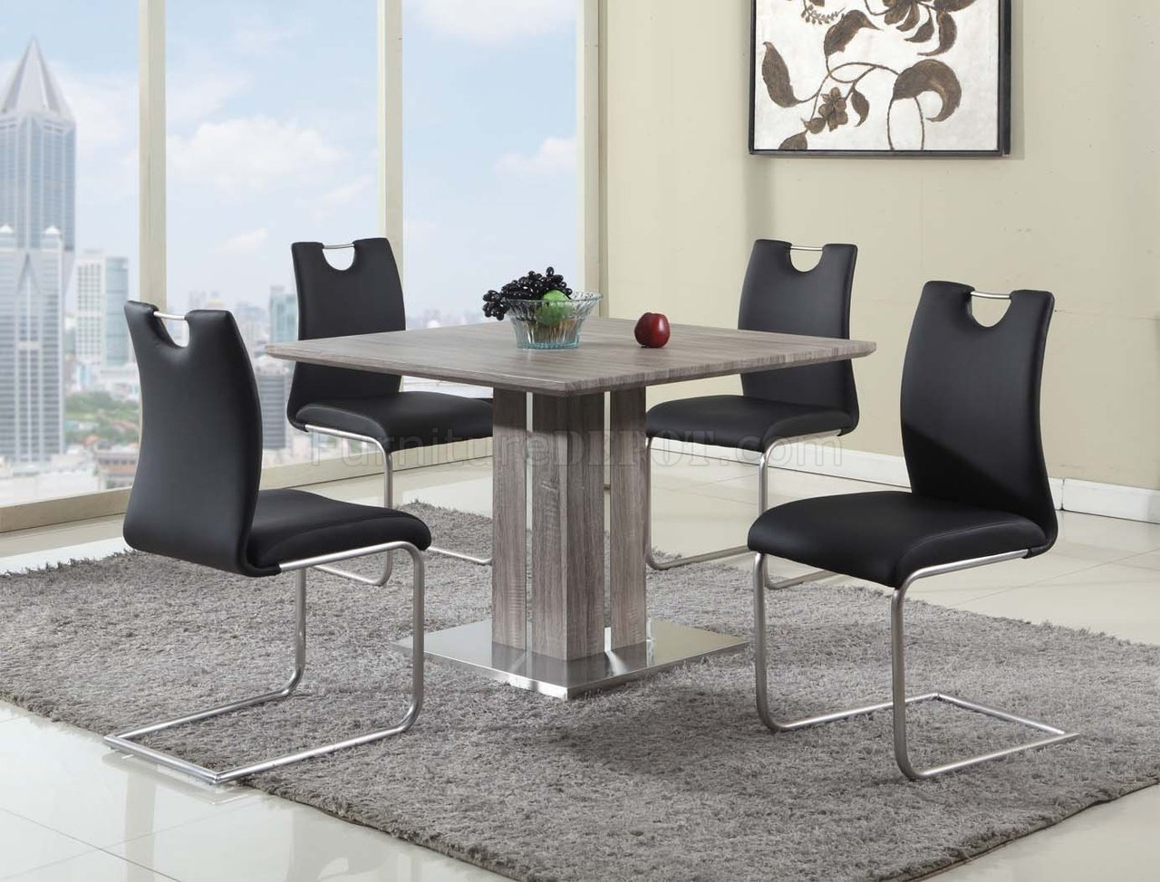 Set Of 4 Grey Fabric Dining Chairs