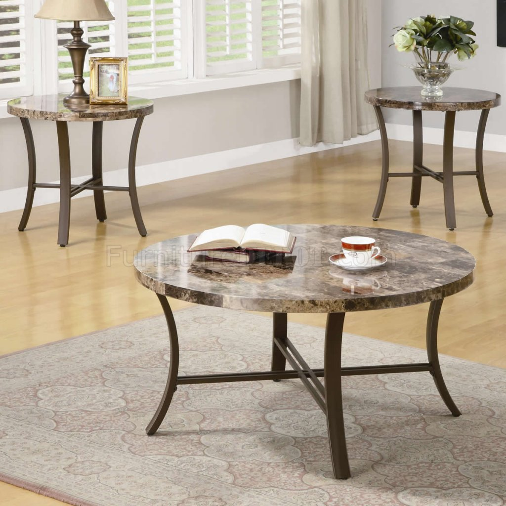 Coffee Table Bases For Marble Tops: Marble-Like Round Top & Metal Base Modern 3Pc Coffee Table Set