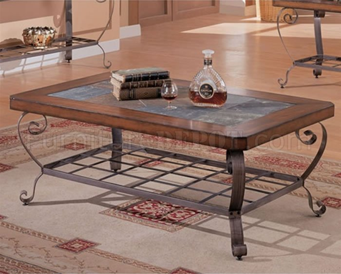 Artistic Brown Finish Coffee Table W Slate Inlays Amp Metal Legs