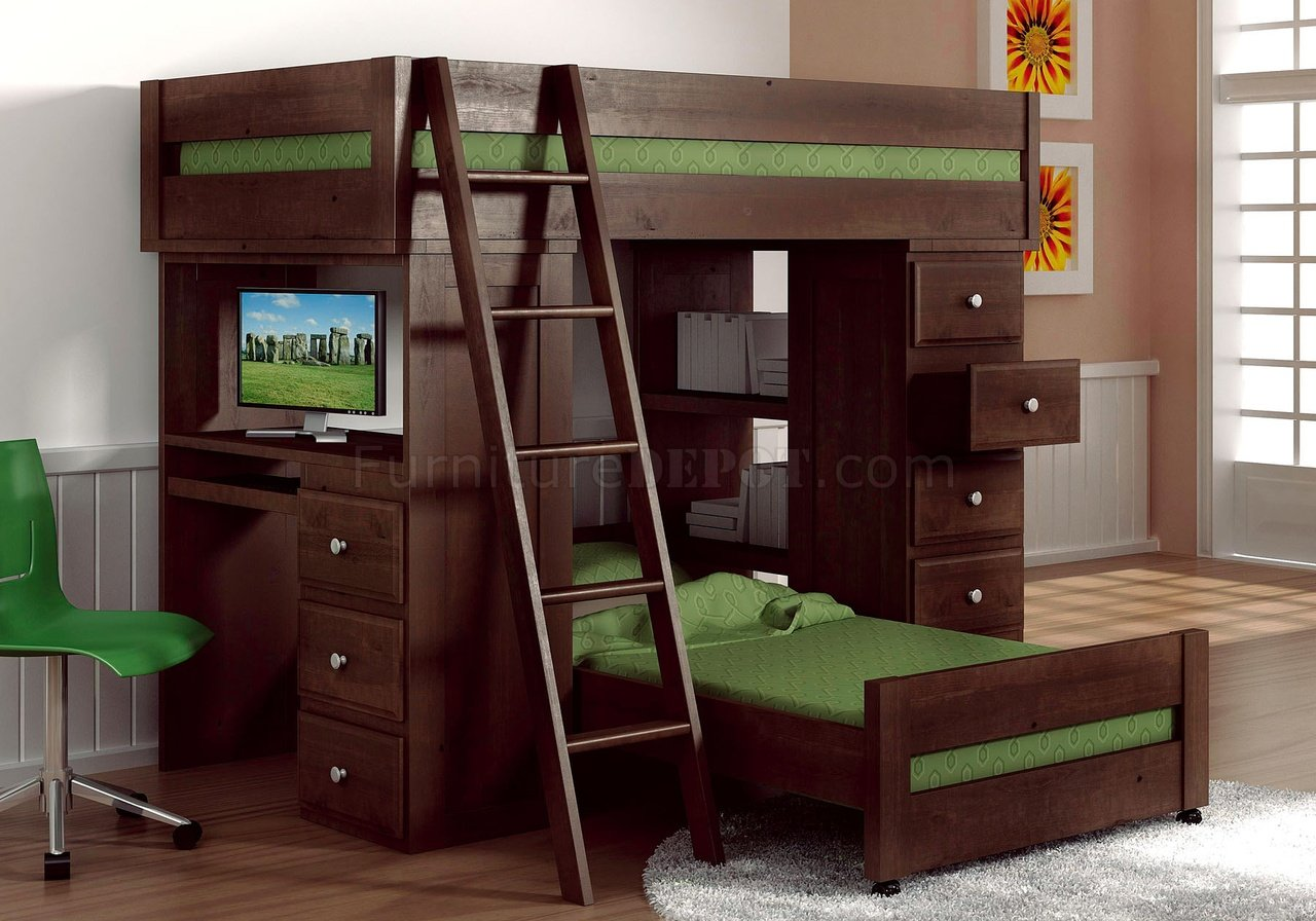Espresso Finish Solid Pine Transitional Loft Bed W Desk