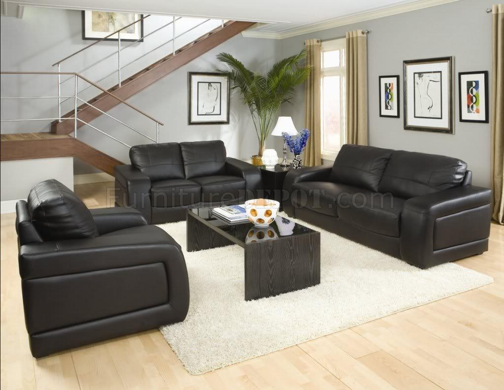 Black Bonded Leather Modern Living Room W/Oversized Padded ...