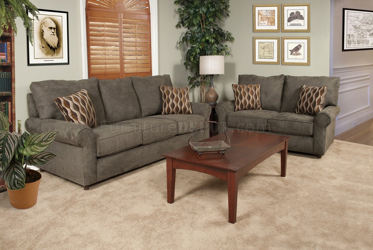 Green Fabric Modern Sofa & Loveseat Set w/Options