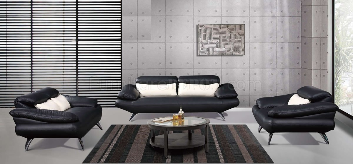 Black Full Leather Contemporary Living Room Sofa w/Chrome Legs