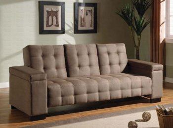 Reviews Tan Microfiber Contemporary Sofa Bed w Pull Down Table
