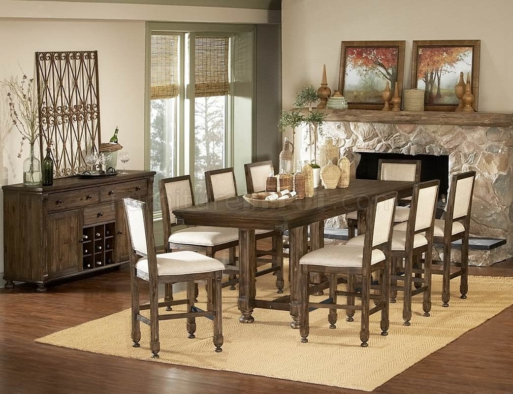 Medium Brown Modern Counter Height Dining Table W Optional Items