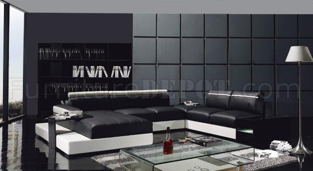 Black Amp White Leather Ultra Modern U Shape Sectional Sofa