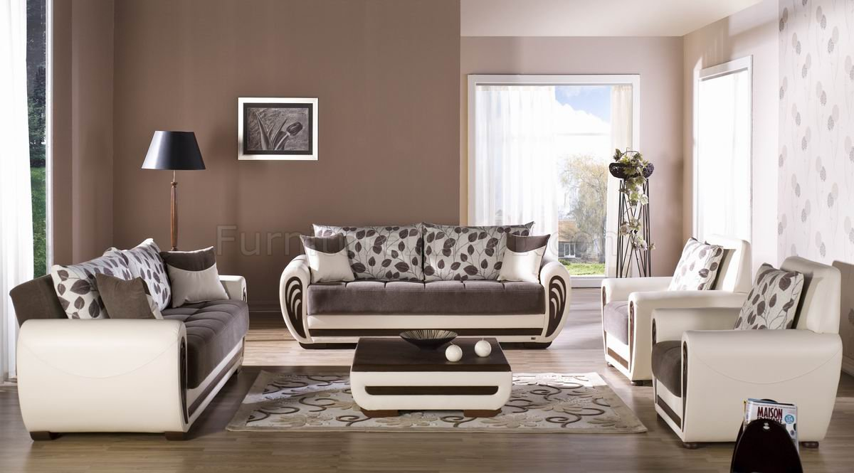 Marina Sofa & Loveseat Set in Dark Brown Fabric White Vinyl by Sunset
