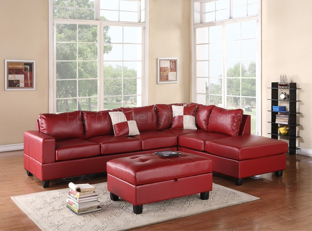 G309 Sectional Sofa In Red Bonded Leather By Glory W/Ottoman