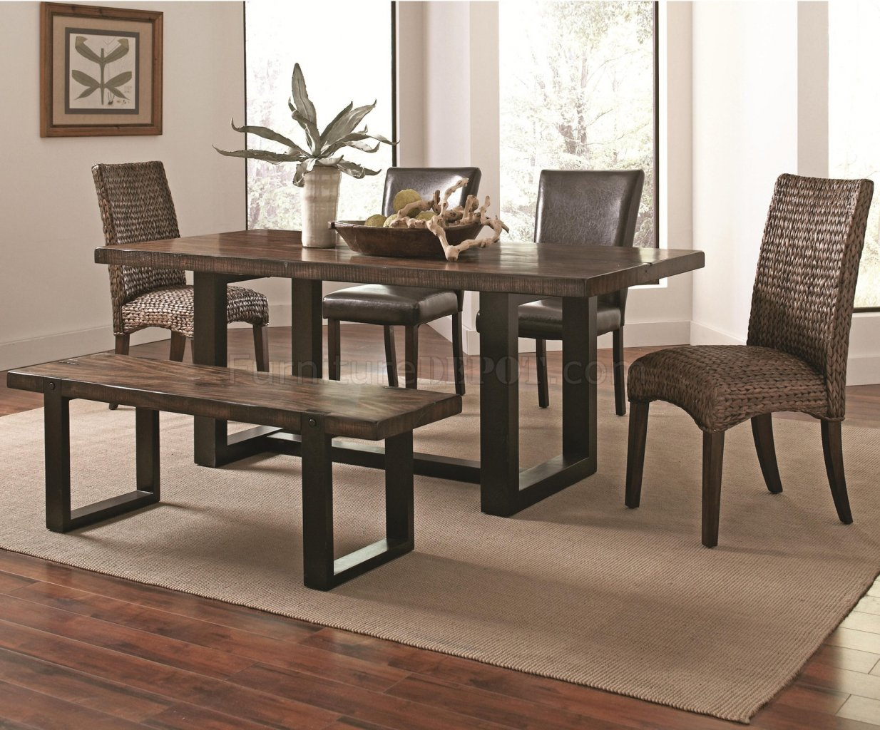 Westbrook Dining Table 121641 Coaster w/Optional Wooven Chairs