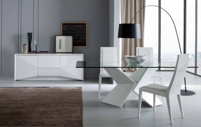 Sapphire Dining Table in White by Rossetto w/Optional Items