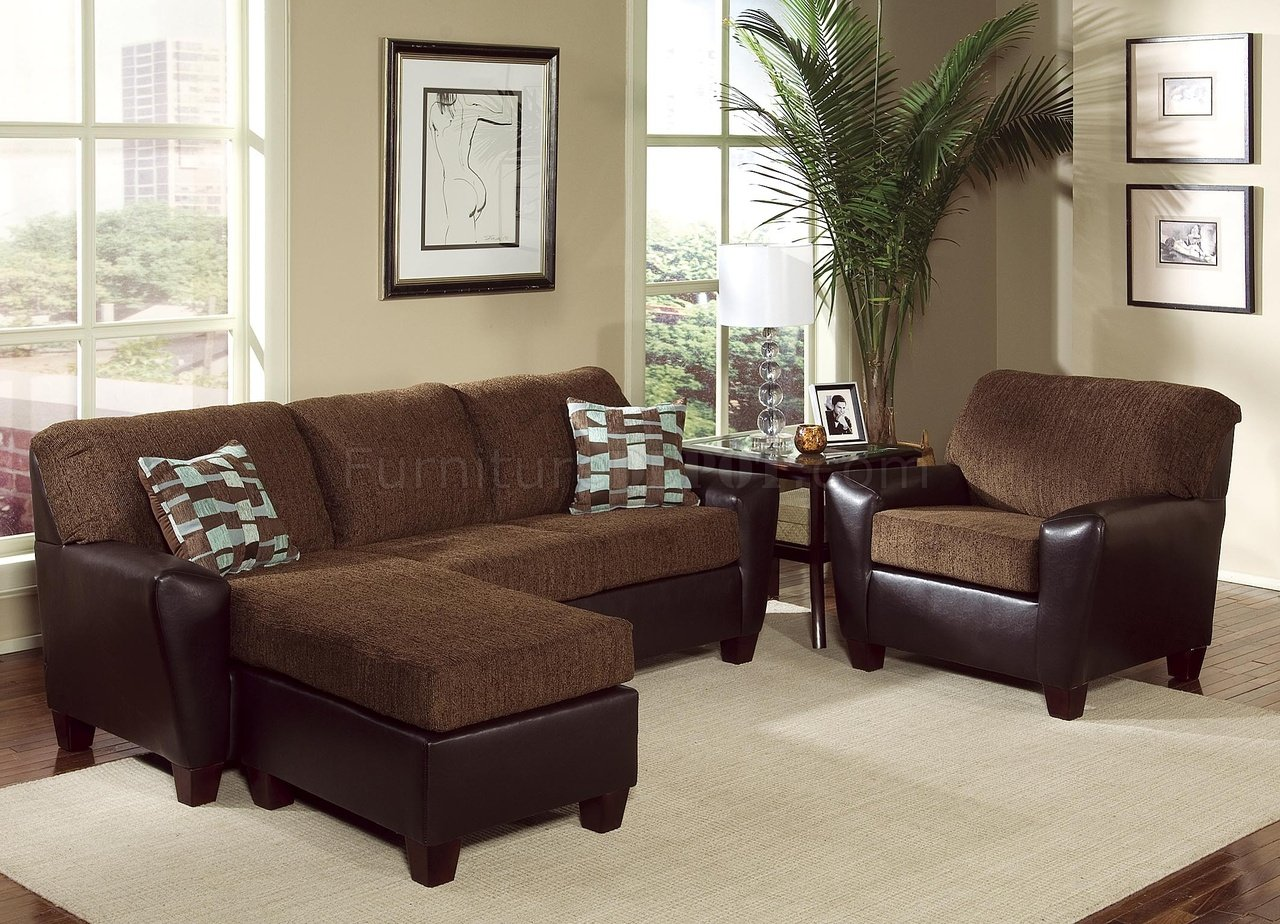 two tone brown contemporary living room w cushioned seats