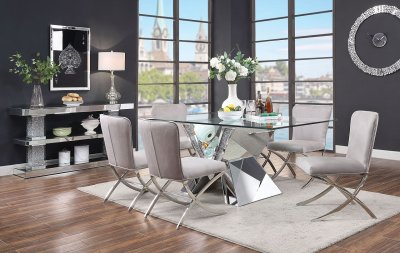 Noralie Dining Table 71280 In Mirror By Acme W Options