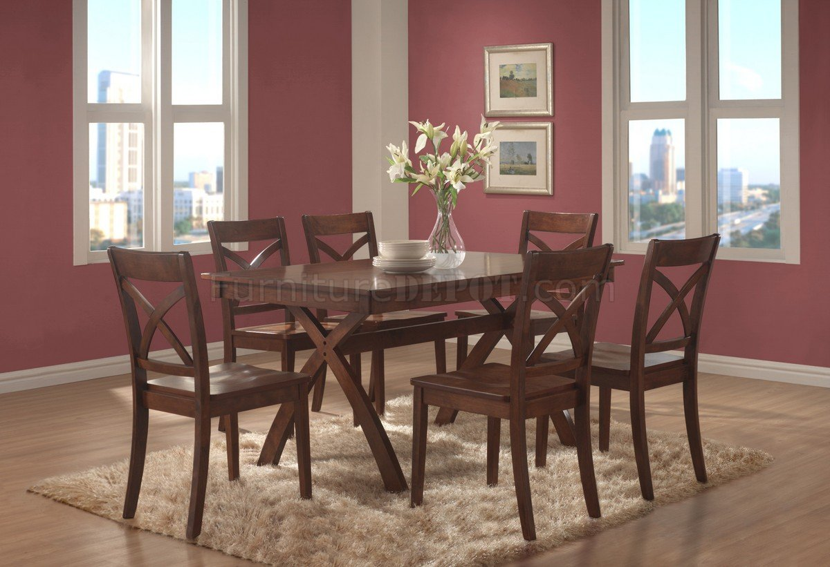Medium Brown Cherry Finish Modern Dining Table W/Optional