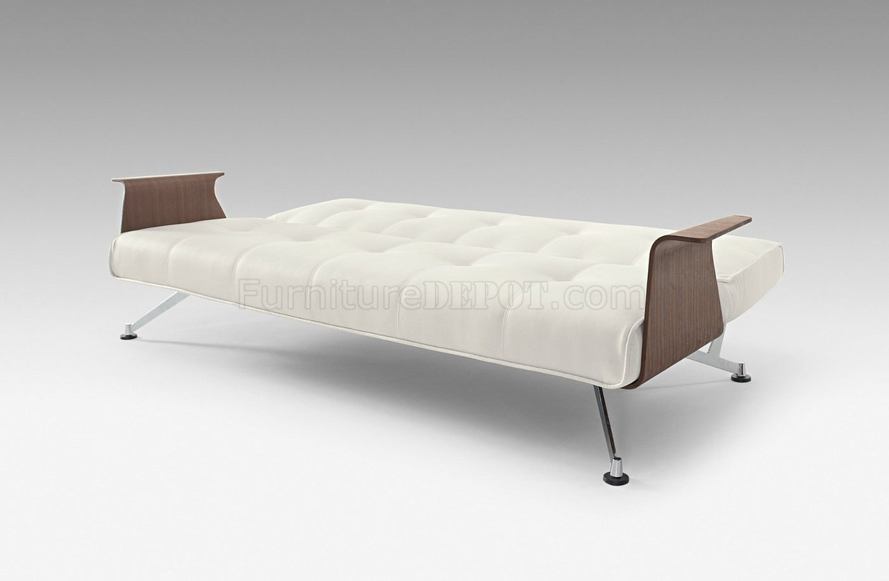 Excellent White Full Leatherette Modern Convertible Sofa Bed W Walnut Arms Pdpeps Interior Chair Design Pdpepsorg