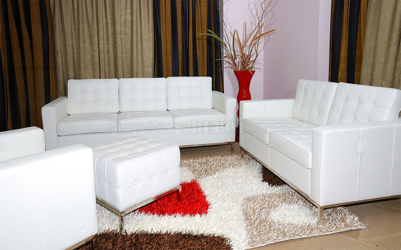 White Full Leather 3PC Living Room Set w/Free Ottoman