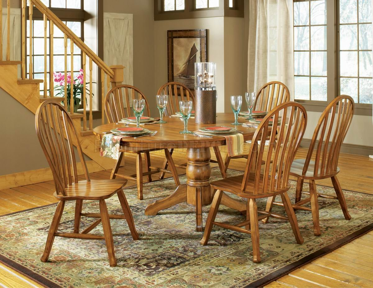 Oak Finish Modern Dining Table W/Optional Chairs