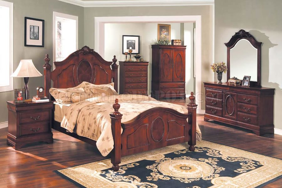 Mahogany Bedroom With Oversized Headboard