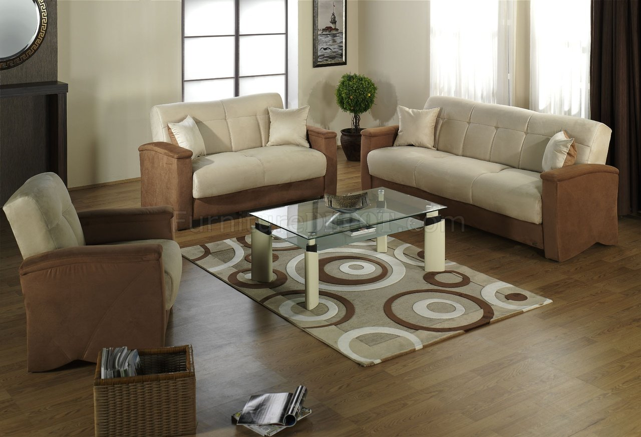 Beige Amp Brown Fabric Modern Living Room Sofabed W Storage
