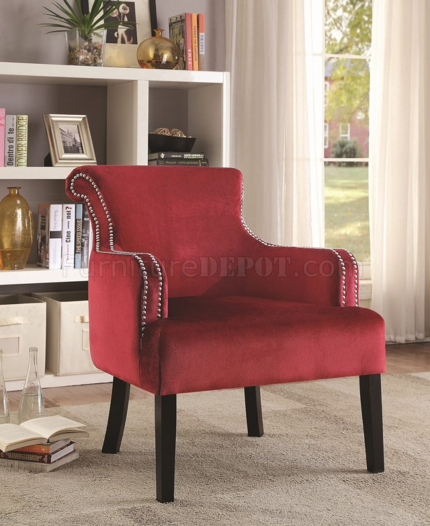 902680 Accent Chair Set Of 2 In Red Velvet Fabric By Coaster