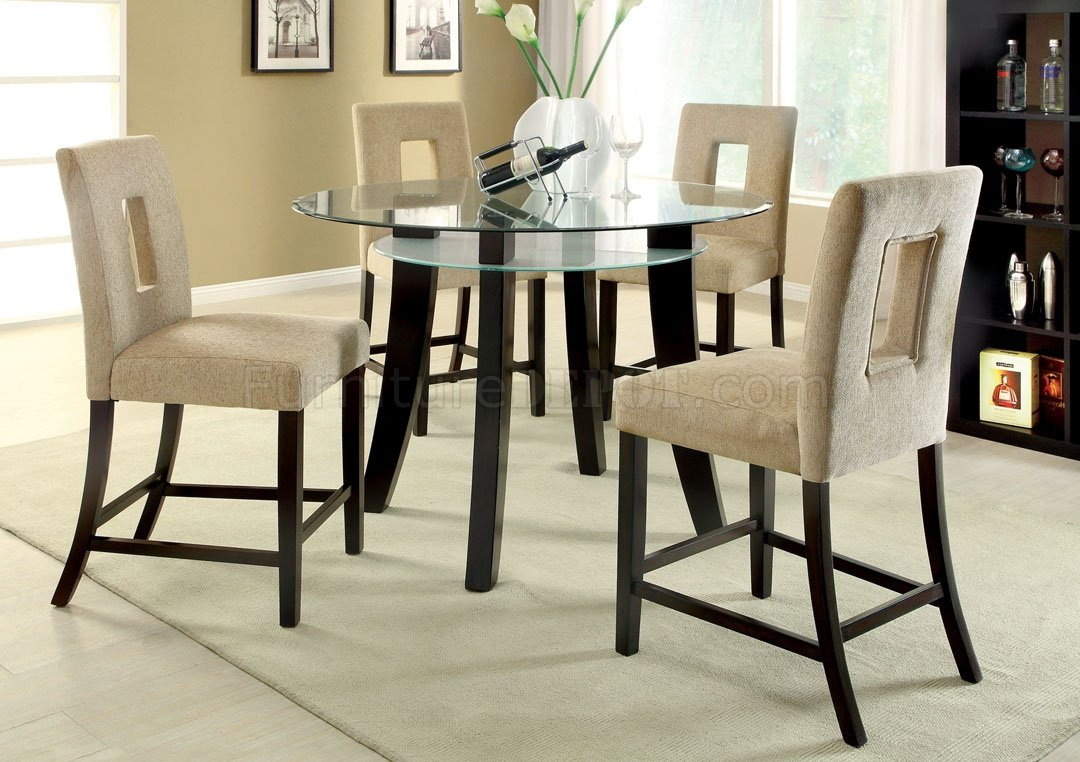 Cm3127pt grandam ii 5pc counter height dinette set w glass top for Counter height dining set