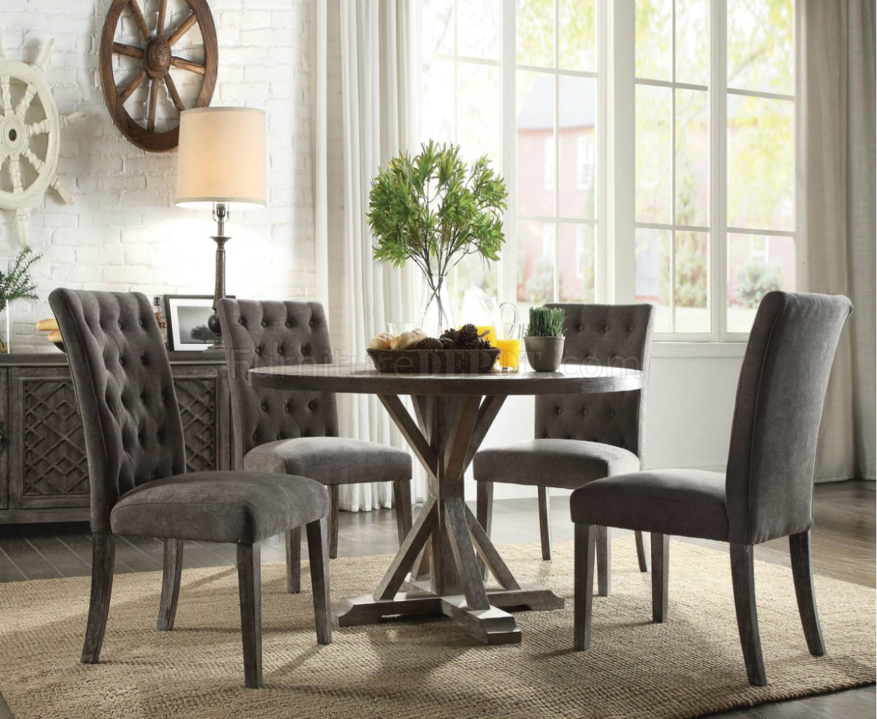 Carmelina Dining Table 70245 In Weathered Gray Oak Amp Gray