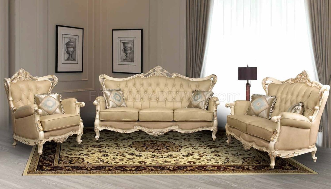 Pearl Traditional Leather Sofa w/Optional Loveseat & Chair