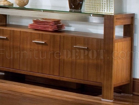 Contemporary Walnut Finish Dining Buffet W Clear Glass Top