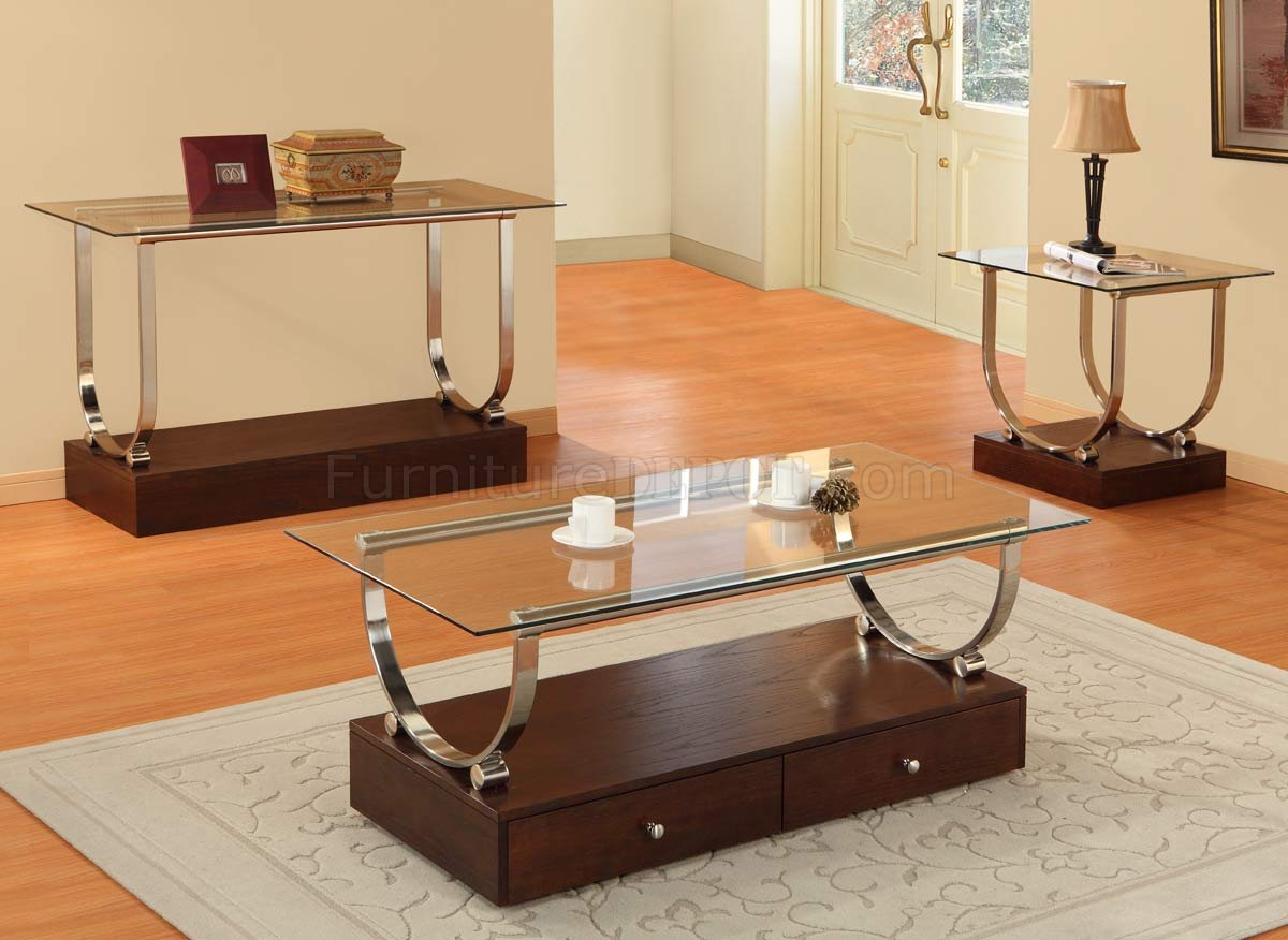 Clear glass top modern coffee table w wood box base drawers Wood coffee table glass top