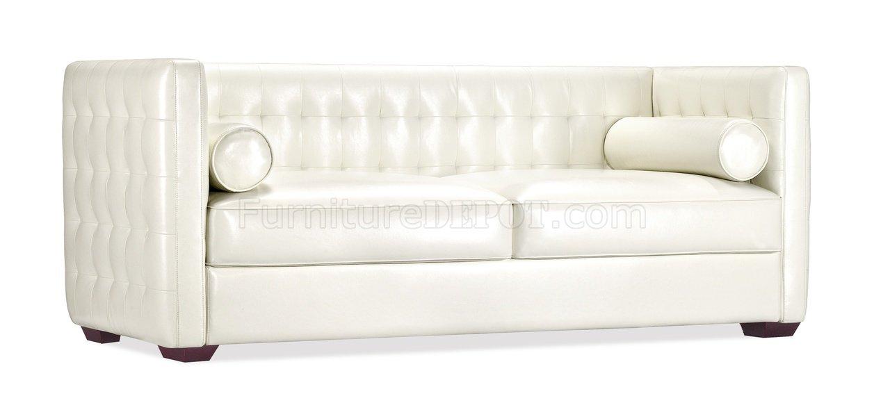 White Full Leather Contemporary Elegant Living Room Sofa