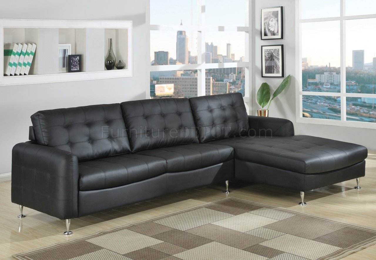 Black Bonded Full Leather Modern Sectional Sofa w/Chrome Legs