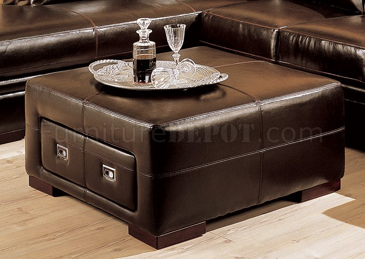 brown leather storage ottoman 2