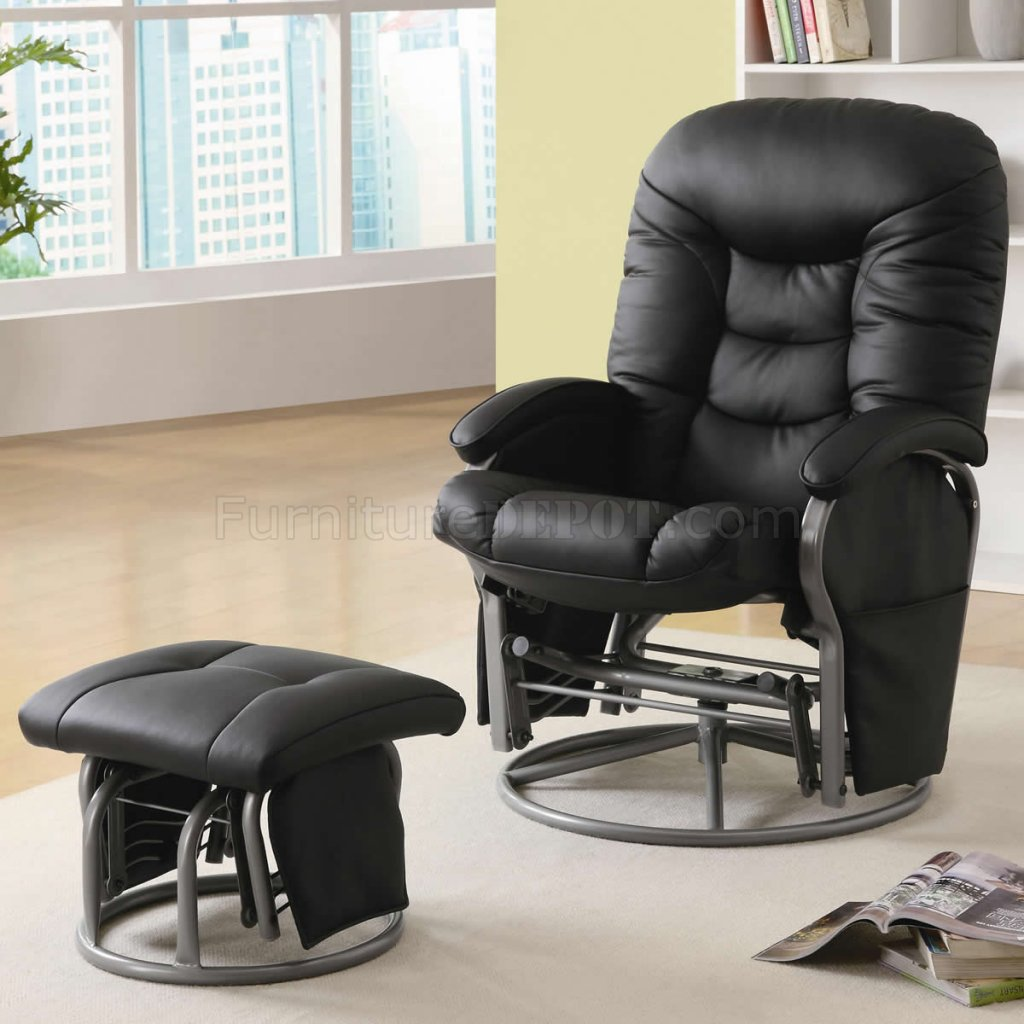 Black Letherette Modern Swivel Glider Chair W Ottoman