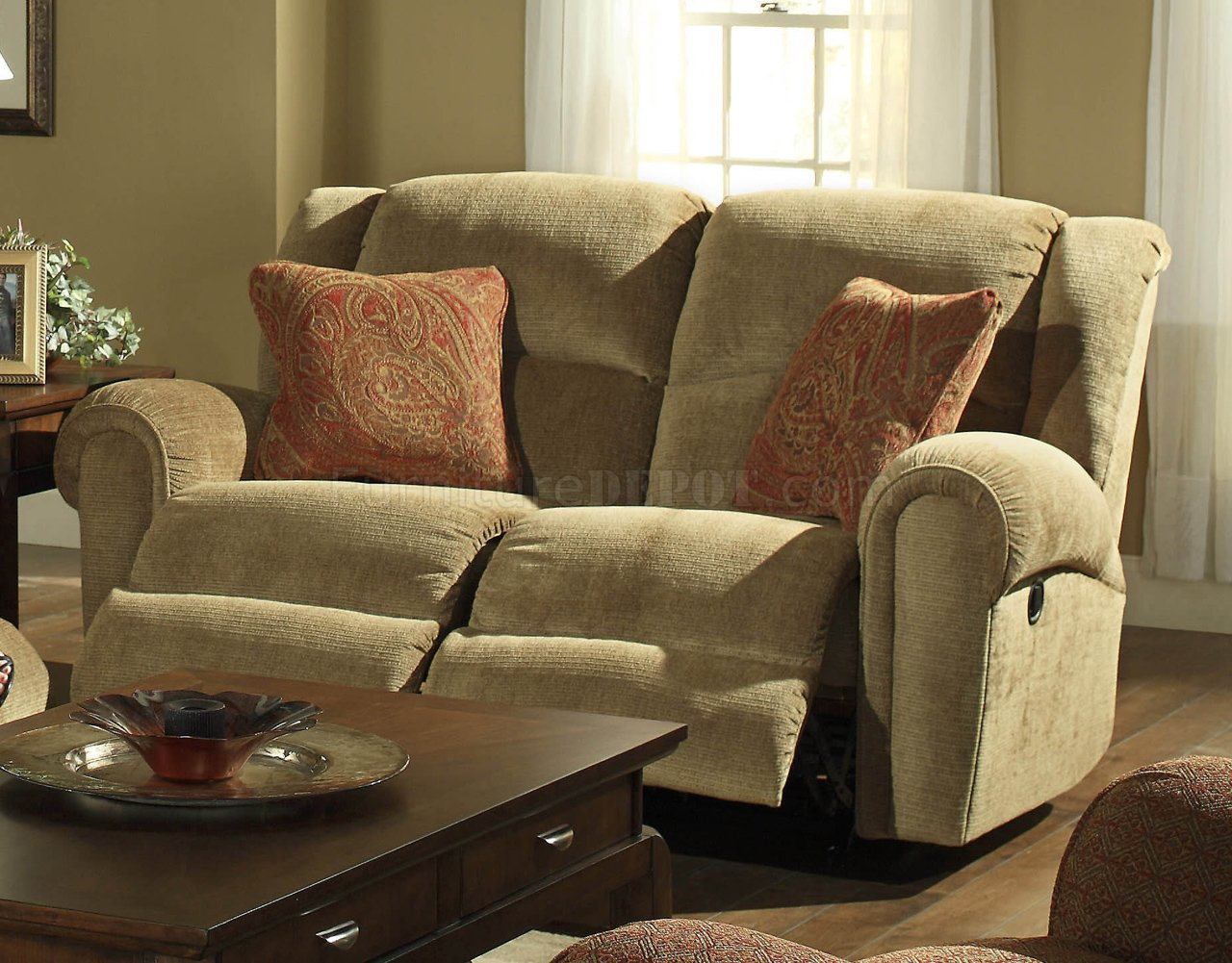 Havana Fabric Modern Grove Park Reclining Sofa Loveseat Set