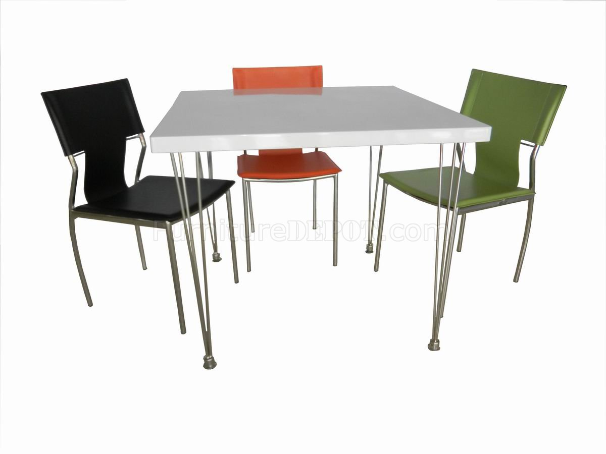 White finish top modern square dining table w metal legs for White metal dining table