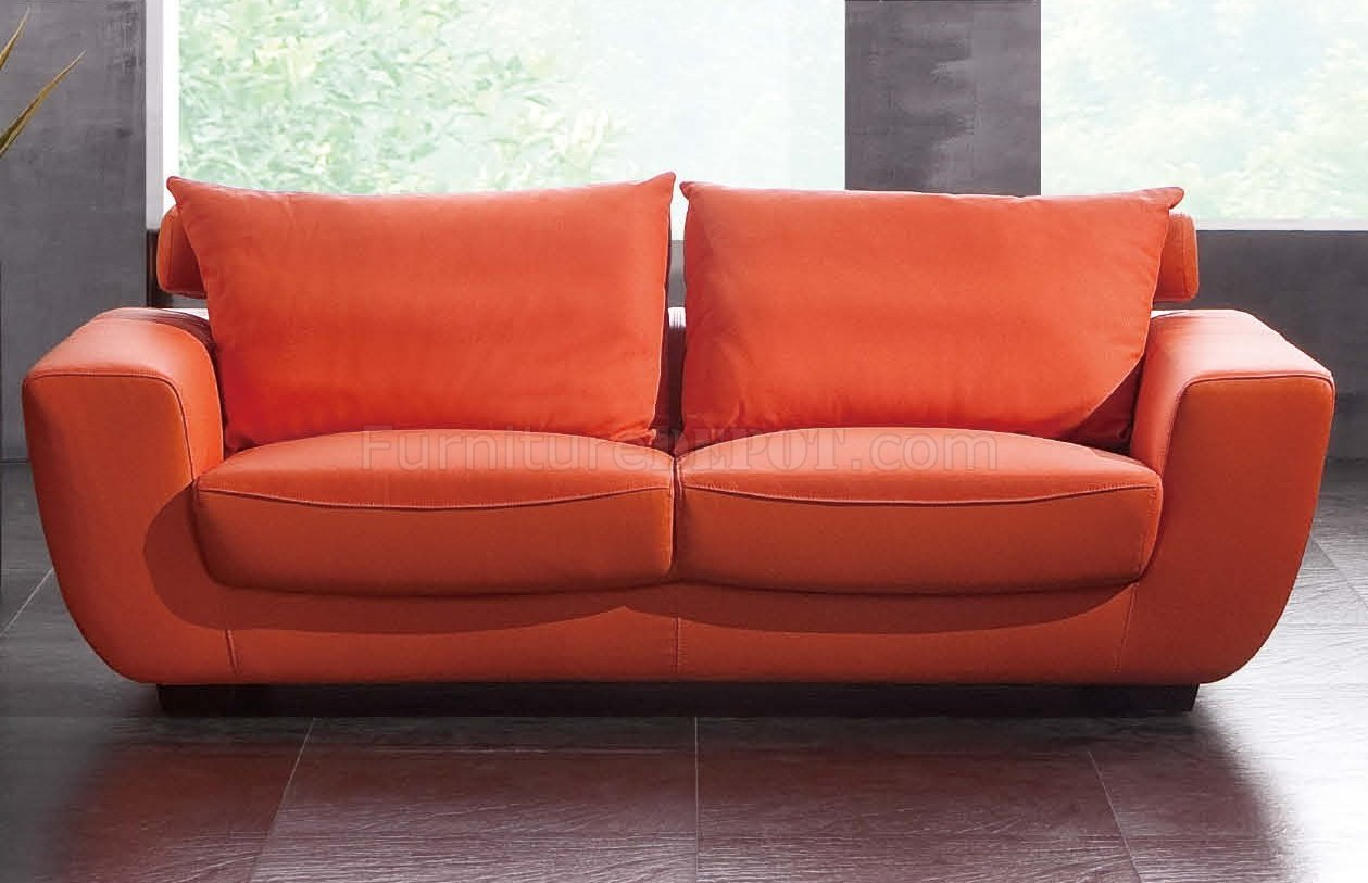 Orange Top Grain Leather Modern Sofa W Optional Chair