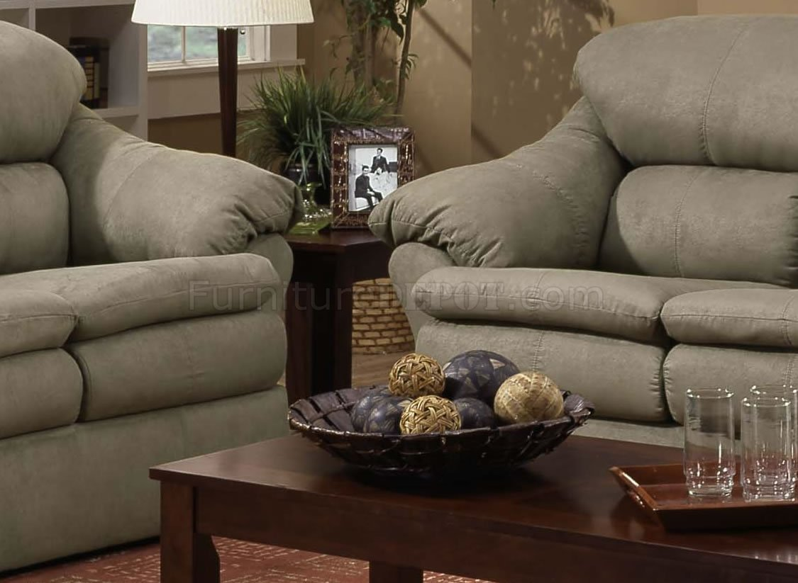 Sage Microfiber Modern Casual Sofa U0026 Loveseat Set W/Wooden Legs