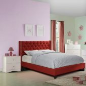 F9372 Bedroom Set By Boss W/Red Fabric Upholstered Bed New