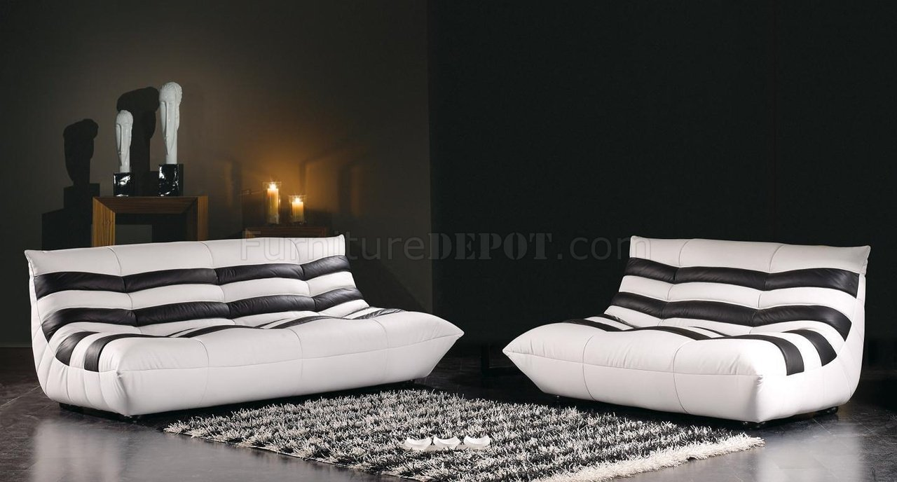Striped Black U0026 White Leather 3PC Modern Living Room Set