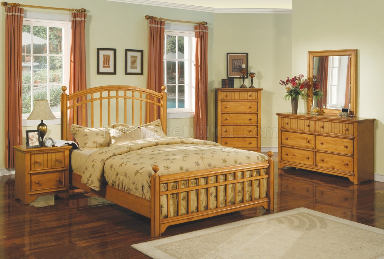 Modern Bedroom Set King Honey Finish 5pc Modern Bedroom Set W Queen Or King Bed