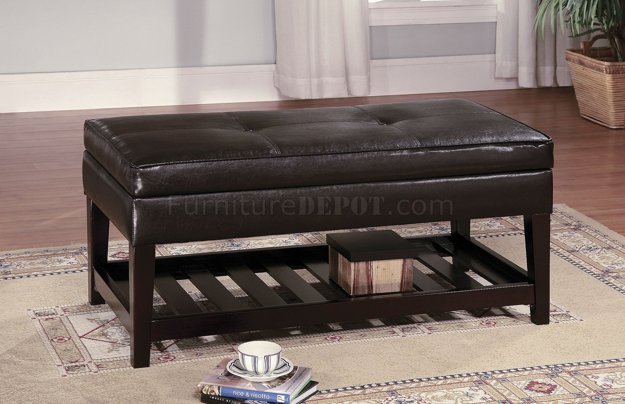 Brown Leather Top Bench Coffee Table W Shelf Slat Storage Base