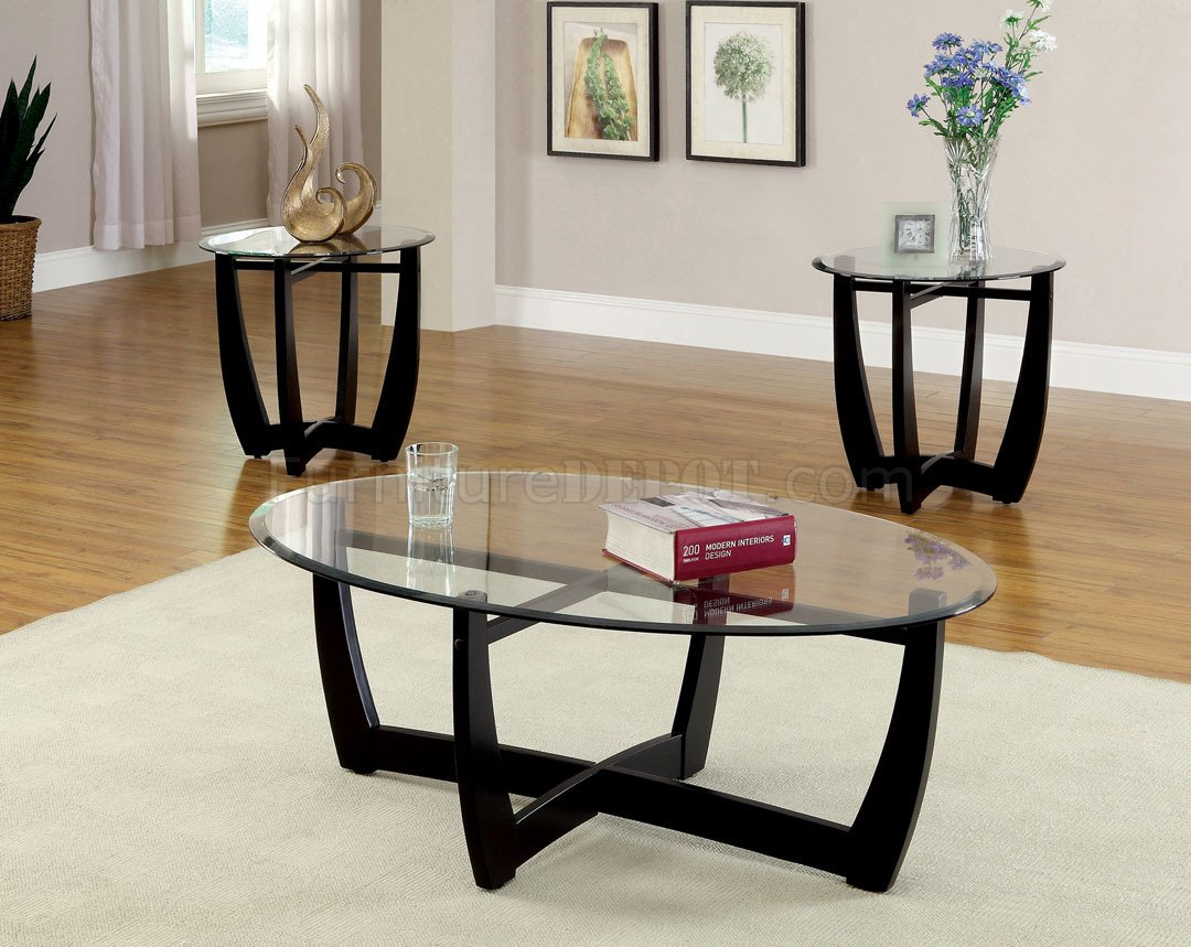 Cm4848 3pk Dafni Coffee Table 2 End Tables 3pc Set In Black