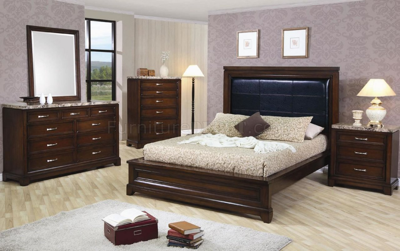 Dark oak finish contemporary 5pc bedroom set w marble tops for Oak bedroom sets