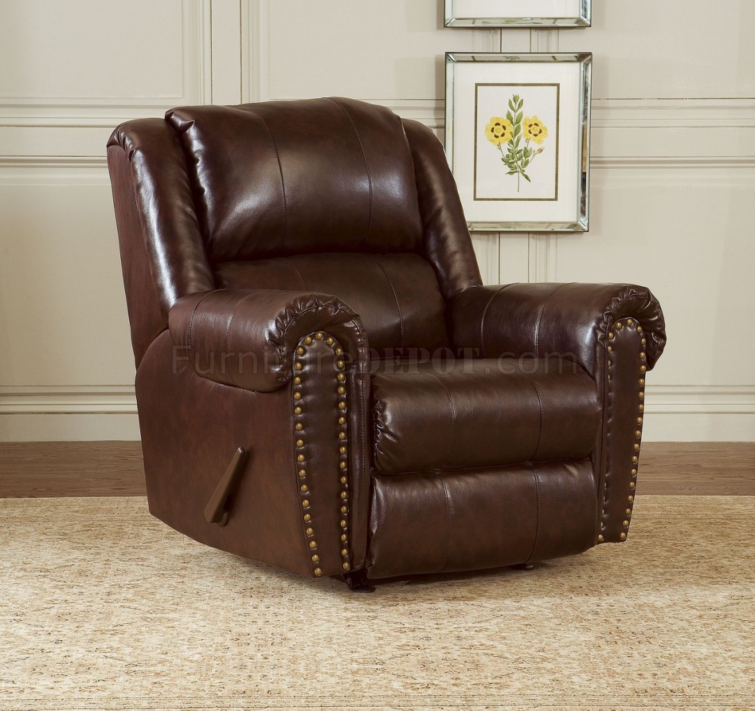 cognac brown bonded leather sofa chair set w reclining seats. Black Bedroom Furniture Sets. Home Design Ideas