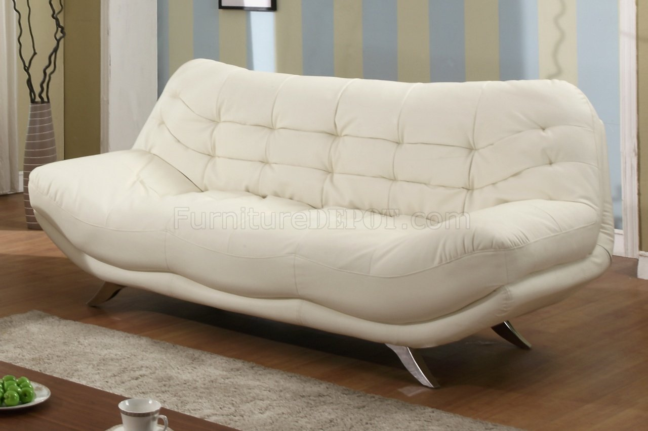 Beige Full Bonded Leather Modern Sofa W Optional Loveseat
