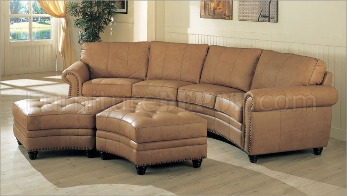 Finest Camel Leather Sectional Sofa & Ottoman Set W/Nail-Head Design RC97