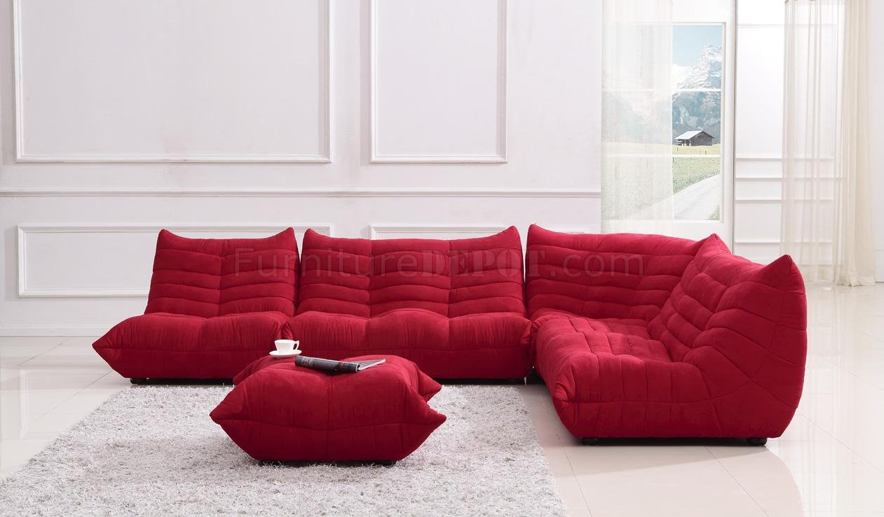 sectional sofa ottoman on Red Fabric Modern Sectional Sofa W Ottoman At Furniture Depot