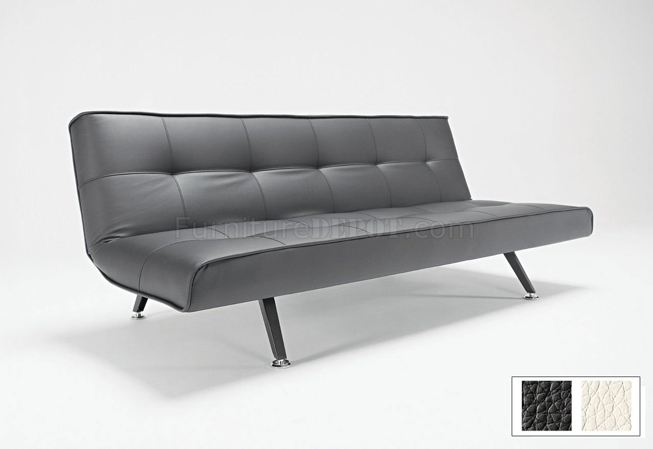 Black Or White Leatherette Modern Sofa Bed W/Metal Legs