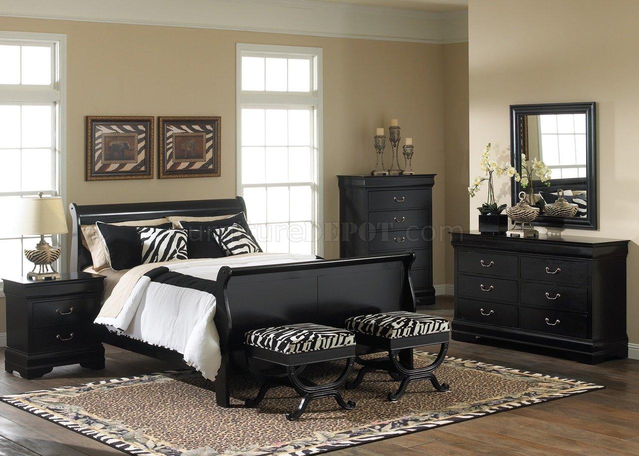 Black finish carrington sleigh bed w optional case goods lfbs 907 br
