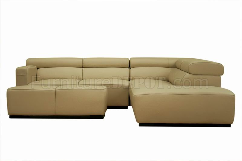 beige leather modern 3pc sectional sofa w ottoman