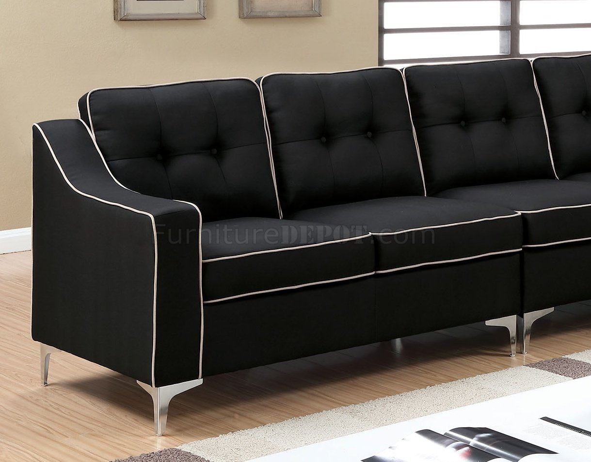 Glenda ii sectional sofa cm6851bk in black fabric for Black fabric couches
